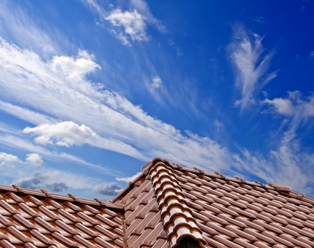 the roof of the house under the blue sky Stock Photo