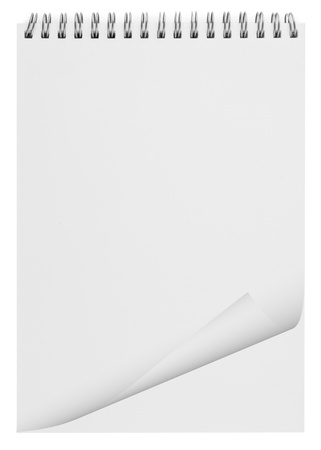teared paper: blank background. paper spiral notebook isolated on white