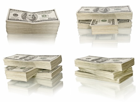debt collection: ig pile of money. dollars over white background Stock Photo