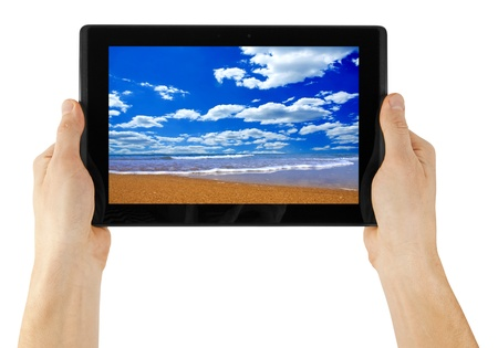 a tablet on the white backgrounds Stock Photo - 12943184