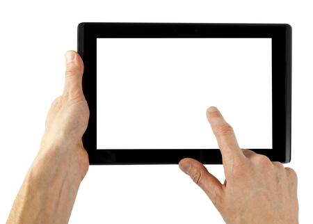 portability: tablet computer isolated in a hand on the white backgrounds Stock Photo