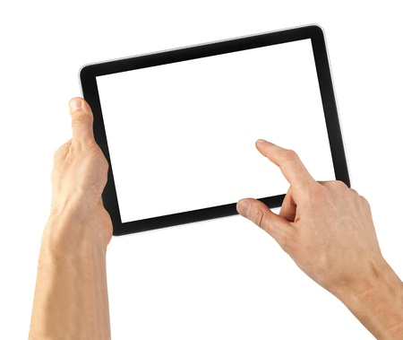 a tablet on the white backgrounds Stock Photo