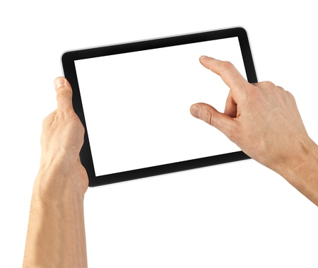 a tablet on the white backgrounds Stock Photo - 15203174