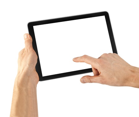 a tablet on the white backgrounds Stock Photo - 15203176