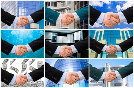 sales meeting: Handshake with modern skyscrapers as background. collection