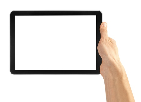tablet pc in hand: a tablet on the white backgrounds Stock Photo