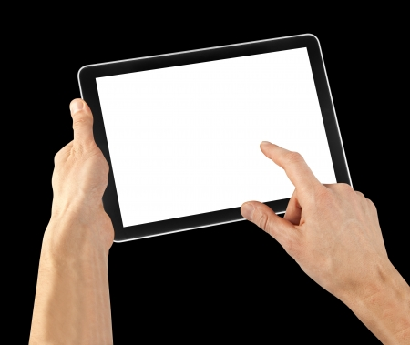 a tablet on the white backgrounds photo
