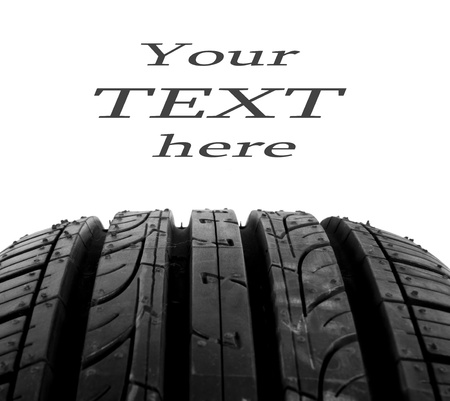 summer tire: black isolation rubber tire, on the white backgrounds