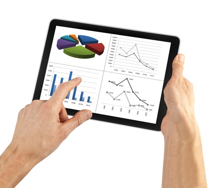 tablet computer isolated in a hand on the white backgrounds. Stock Photo - 15828594