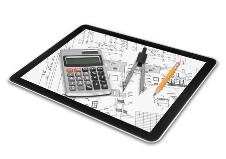 pc screen: tablet computer isolated in a hand on the white backgrounds Stock Photo