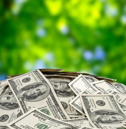 us paper currency: big pile of money. stack of american dollars Stock Photo