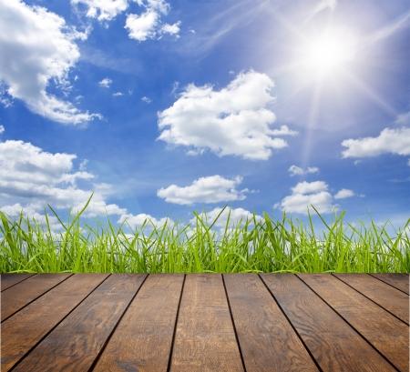 잔디 배경에 실내 인테리어에 나무 질감 배경