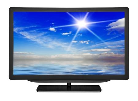 흰색 배경에 평면 텔레비전