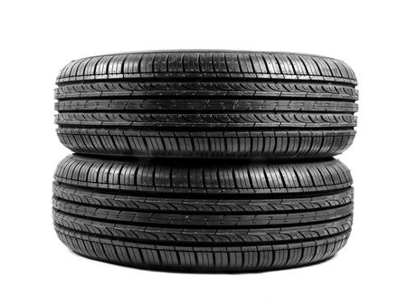black isolation rubber tire, on the white backgrounds photo