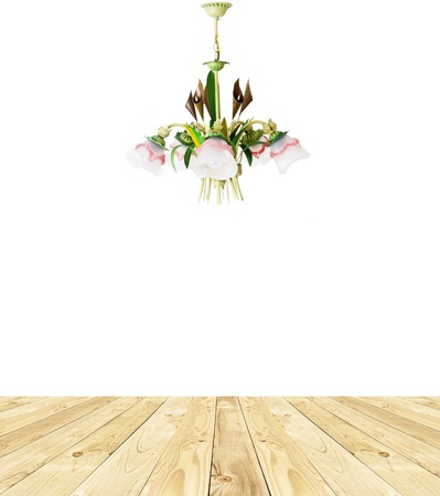 chandelier isolated on the white isolated. Image of grunge dark room interior with wood floor and chandelier. Background photo