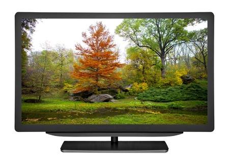 白い背景でフラット テレビ 写真素材