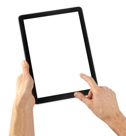 흰색 배경에 태블릿