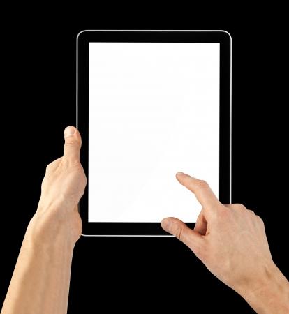 h�ndchen halten: ein Tablet-Computer auf den schwarzen Hintergr�nde