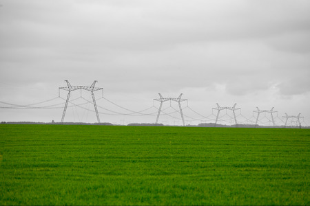 high powered: ifield of grass  power lines on the meadow green under sky Stock Photo