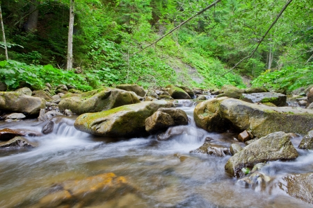 wilderness area: waterfall in the mountain forest. beautiful background of stone, water, moss. Stock Photo