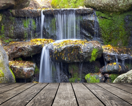 wood textured backgrounds in a room interior on the waterfall backgrounds Stock Photo - 25115618