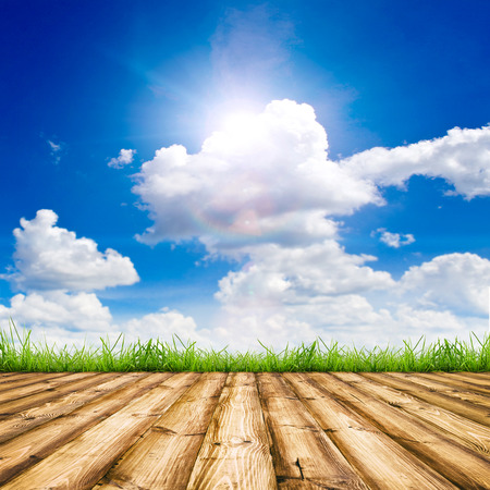 Background room interior. Fresh spring green field grass with blue bokeh and sunlight and wood floor.  Stock Photo