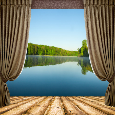 empty stage: Open curtains on the background of the forest autumn background