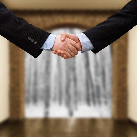 busines: busines man handshake with modern interior background Stock Photo
