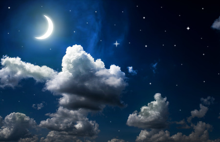 blue stars: night sky with stars, moon and beautiful clouds