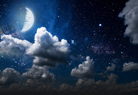over the moon: backgrounds night sky with stars and moon and clouds. wood. Elements of this image furnished by NASA