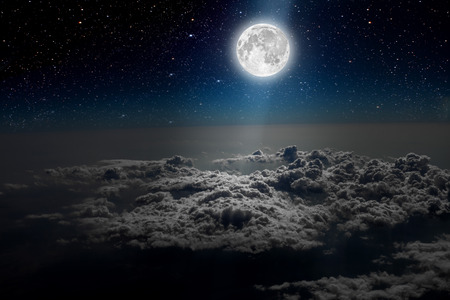 moon and stars: backgrounds night sky with stars and moon and clouds. wood. Elements of this image furnished by NASA