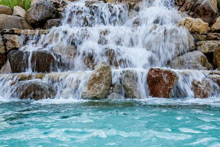 murmur: waterfall beautiful background of stone, water, moss Stock Photo