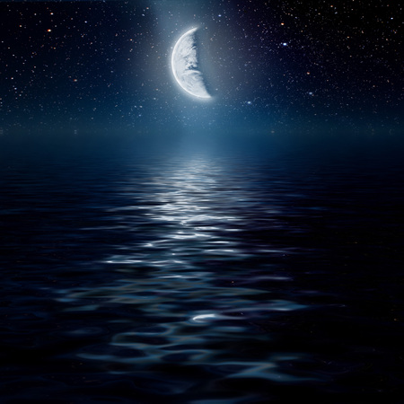 nasa: moon on a background star sky reflected in the sea. Elements of this image furnished by NASA
