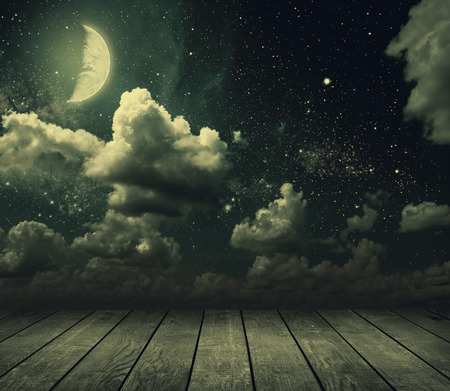 sky night: backgrounds night sky with stars and moon and clouds. wood. Elements of this image furnished by NASA