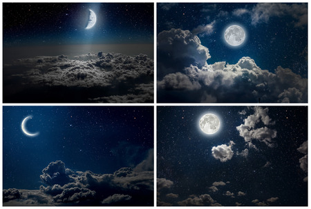 nasa: backgrounds night sky with stars and moon and clouds. wood. Elements of this image furnished by NASA