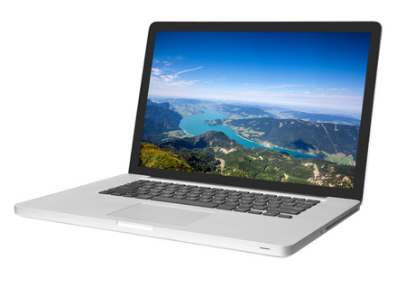 computers and communications: modern laptop isolated on white