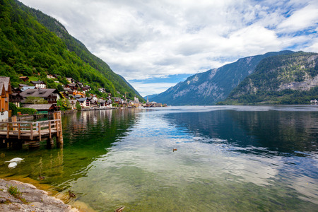 austrian village: mountains in village Hallstatt in the Austrian Alps, region of Salzkammergut Stock Photo