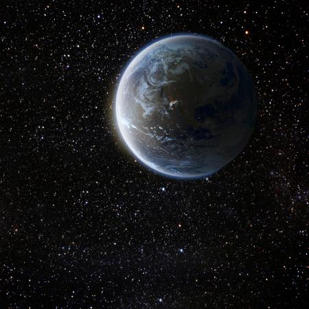 Vue de la terre de la lune. Les éléments de cette image fournie par la NASA
