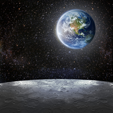 nasa: View of the earth from the moon. Elements of this image furnished by NASA Stock Photo