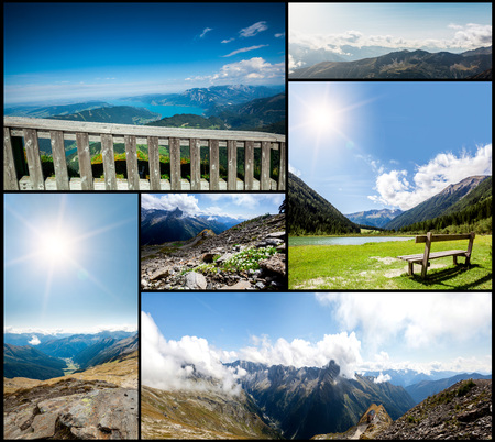 panoramas: collection panoramas mountains in the Alps. Backgrounds Stock Photo