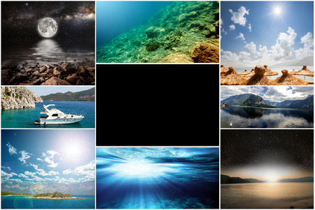 travel backgrounds: collage of photos from the sea travel. Backgrounds Collection Stock Photo