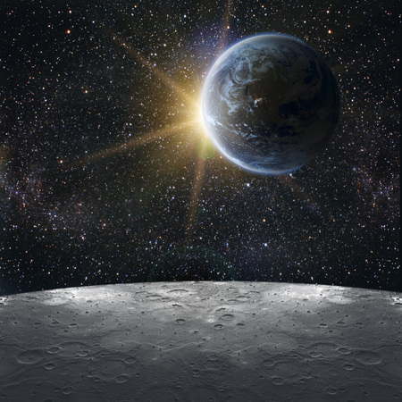 landing light: View of the earth from the moon. Elements of this image furnished by NASA Stock Photo