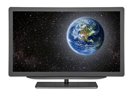 nasa: flat television on the white backgrounds. Elements of this image furnished by NASA Stock Photo