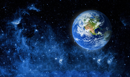 Widok Ziemi z Księżyca. Elementy tego zdjęcia dostarczone przez NASA Zdjęcie Seryjne