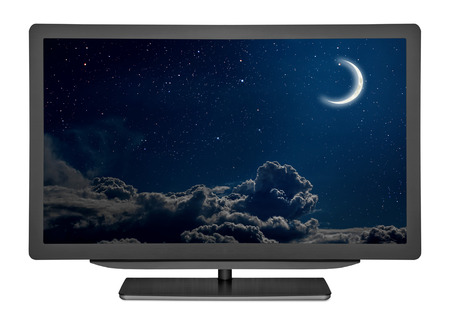 moonlit: flat television on the white backgrounds. Elements of this image furnished by NASA Stock Photo