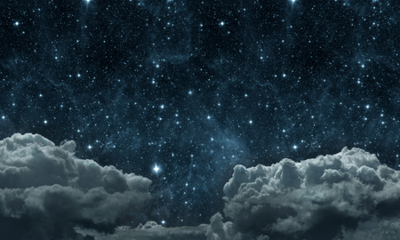 backgrounds night sky with stars and moon and clouds. wood.