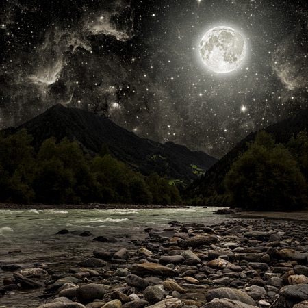 river: mountain. backgrounds night sky with stars and moon and clouds. Stock Photo