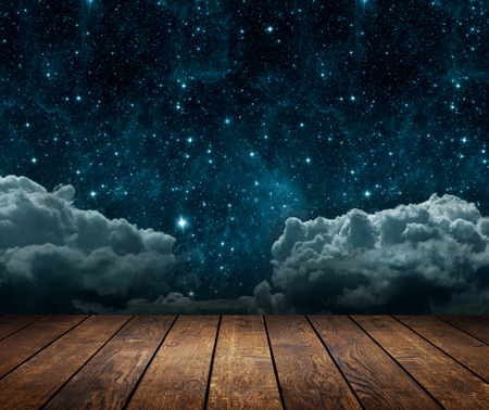 backgrounds night sky with stars, moon and clouds. wood floor.