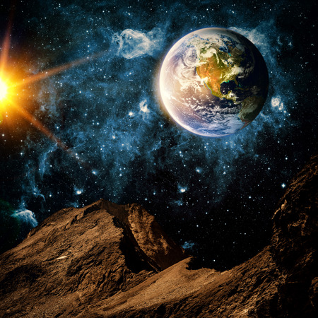 heaven and earth: View of the earth from the moon. Stock Photo
