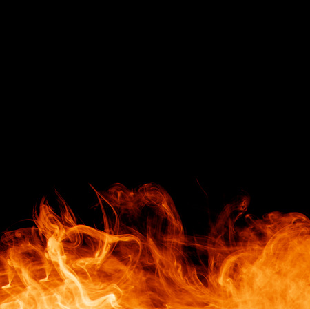 fire on the black backgrounds Stock Photo